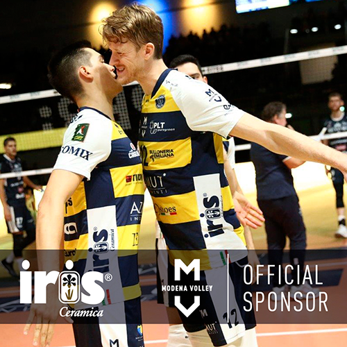 Iris Ceramica sponsors the Modena Volley team featuring Micah Christenson and Maxwell Holt